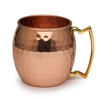 The Classic Shiny Hammered Pure Copper Moscow Mule Barrel Mug - 16 oz