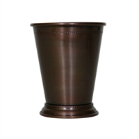 Beaded Pure Copper Mint Julep Cup in Antique Finish - 14 oz