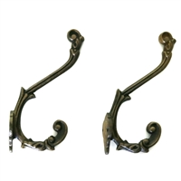 Set of 2 Iron Wall Hook in Antique Brass Finish