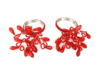 Red Beaded Napkin Ring (Set of 4)
