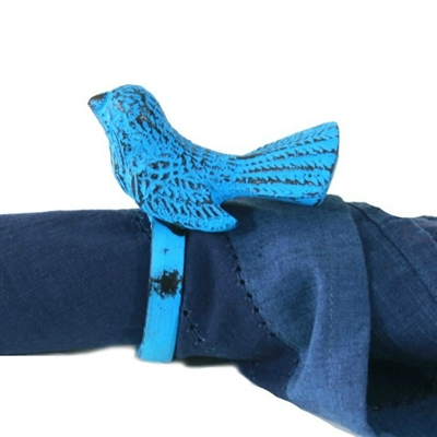 Bird Napkin Ring in Blue Distressed Finish (Set of 4)