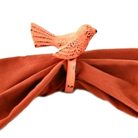 Bird Napkin Ring in Orange Distressed Finish (Set of 4)