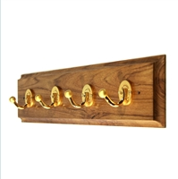 Wooden Hook Rack (Four Golden Hooks)