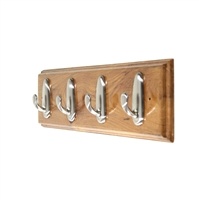 Wooden hook rack with classic nickle hooks