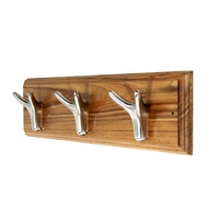 Wooden Hook Rack (Nickle Plated Hooks)
