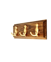 Wooden Hook Rack (Golden Hooks)