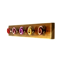 Wooden Hook Rack (With Colorful Spiral Resin Knobs)