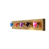 Wooden Hook Rack (Colorful Animal Resin Knobs)