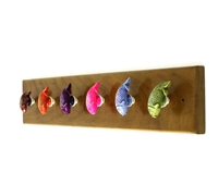 Wooden Hook Rack (Colorful Fish Shaped Resin)