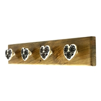 Wooden Hook Rack (Heart Shaped Knobs)