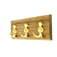 Wooden Hook Rack (Decorative Golden Hooks)