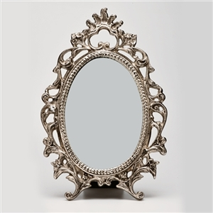 VINTAGE STYLE DECORATIVE VANITY MIRROR IN SILVER