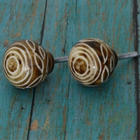 Bone Cabinet Knob with White Pattern on Brown Finish