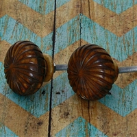Bone Cabinet Knob with Brown Finish - Wheel