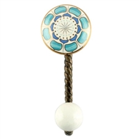 Turquoise Flower Ceramic Wall Hook in Antique Fitting