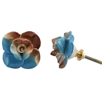 Blue Brown Ceramic Rose Knob
