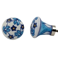 Ceramic Knob with Blue Lily