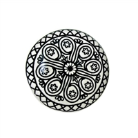 Flat Ceramic Knob with Intricate Black Motif