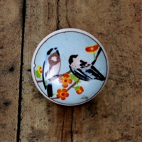 Flat Ceramic Knob with Bird Design