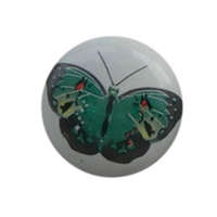 Flat Ceramic Knob with Butterfly Design