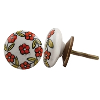 Flat Ceramic Knob with Orange Floral Pattern