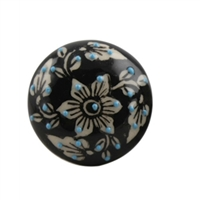 Embossed Flat Ceramic Knob with a White Floral Pattern