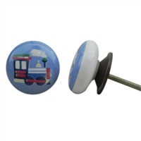 Flat Ceramic Knob with a Train Design