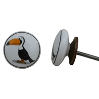 Flat Ceramic Knob with Toucan