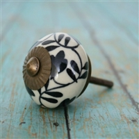 Ceramic Knob with a Black Floral Design