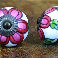 Ceramic Knob with a Pink Floral Design
