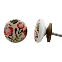 Flat Ceramic Knob with Floral Design