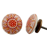Embossed Flat Ceramic Knob with Orange Floral Design