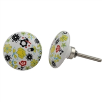 Flat Ceramic Knob with Yellow and Black Flowers