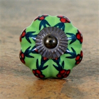 Green Melon Knob with Red Flowers