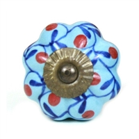 Blue Melon Knob with Red Floral Design