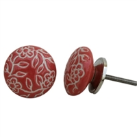 Etched Ceramic Knob - Red