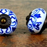 Ceramic Knob with Blue Motif