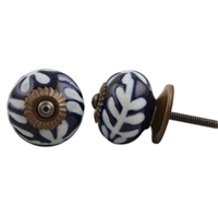 Ceramic Knob with White Etched Floral Pattern