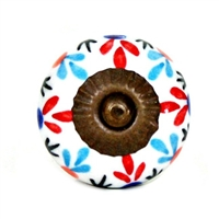 Ceramic Knob with Red and Blue Floral Pattern