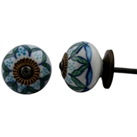 Ceramic Knob with Green and Blue Leaf Pattern