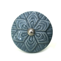 Ceramic Knob with Grey Embossed Pattern