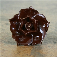 Ceramic Rose Knob in Chocolate Brown