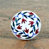 Flat Ceramic Knob with Delicate Floral Pattern
