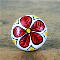 Flat Ceramic Knob with Big Red Flower