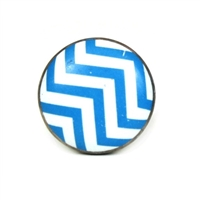 Flat Ceramic Knob with Blue Chevron Pattern