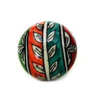 Multicolored Ceramic Knob with Floral Design