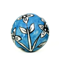 Ceramic Knob with Big White Flower on Blue