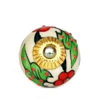 Ceramic Knob with Red and Green Floral Design