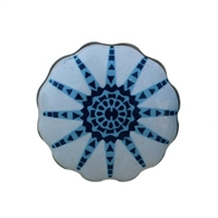 Ceramic Knob with Blue Flower Pattern