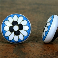Flat Ceramic Knob with White Flower